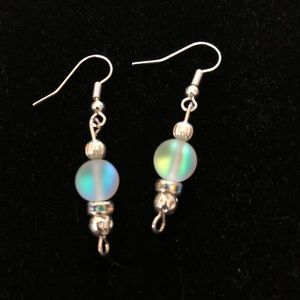 Holographic Mystic Aura Quartz Frosted Earrings
